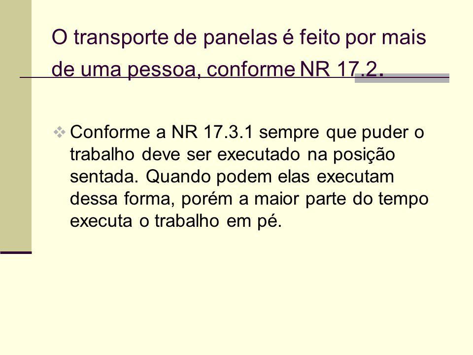 O transporte de panelas é feito por mais de uma pessoa, conforme NR 17.2.  Conforme a NR 17.3.1 sempre que puder o trabalho deve ser executado na pos