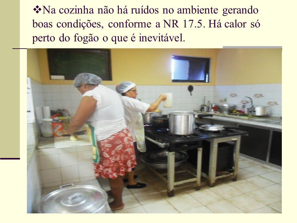  Na cozinha não há ruídos no ambiente gerando boas condições, conforme a NR 17.5. Há calor só perto do fogão o que é inevitável.