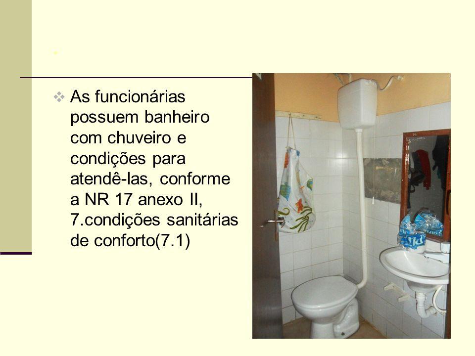 .  As funcionárias possuem banheiro com chuveiro e condições para atendê-las, conforme a NR 17 anexo II, 7.condições sanitárias de conforto(7.1)