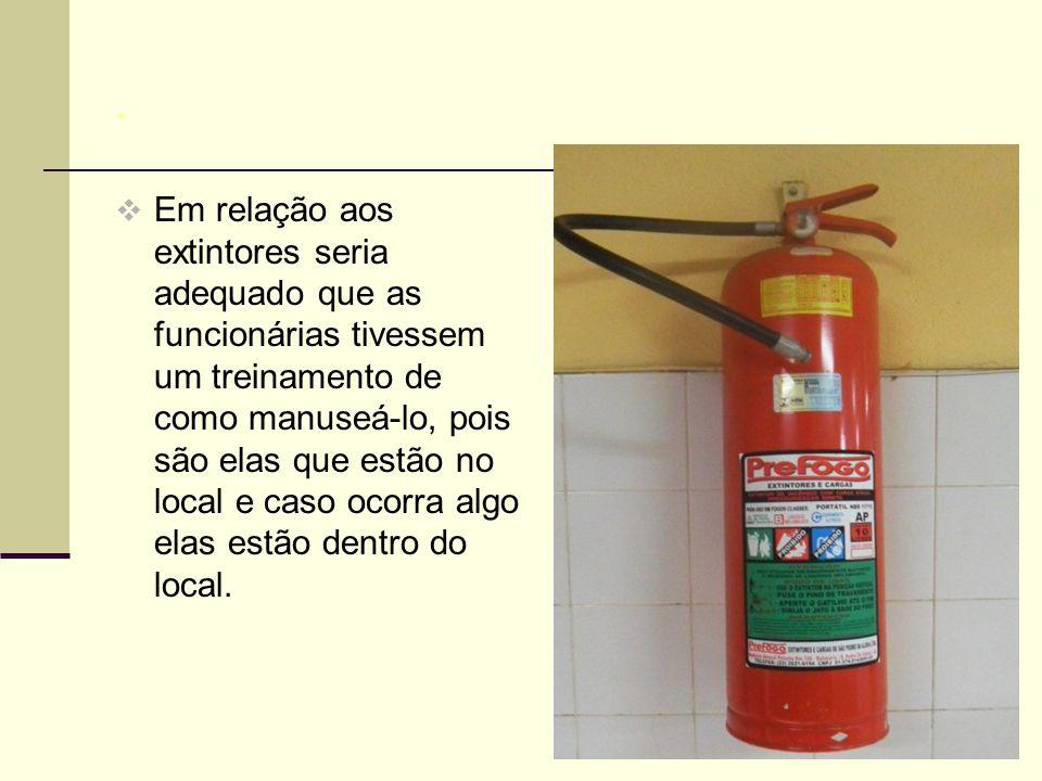 .  Em relação aos extintores seria adequado que as funcionárias tivessem um treinamento de como manuseá-lo, pois são elas que estão no local e caso ocorra algo elas estão dentro do local.