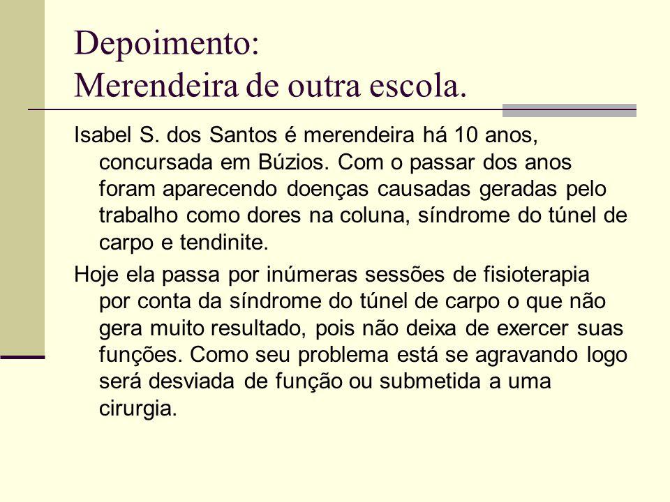 Depoimento: Merendeira de outra escola. Isabel S. dos Santos é merendeira há 10 anos, concursada em Búzios. Com o passar dos anos foram aparecendo doe