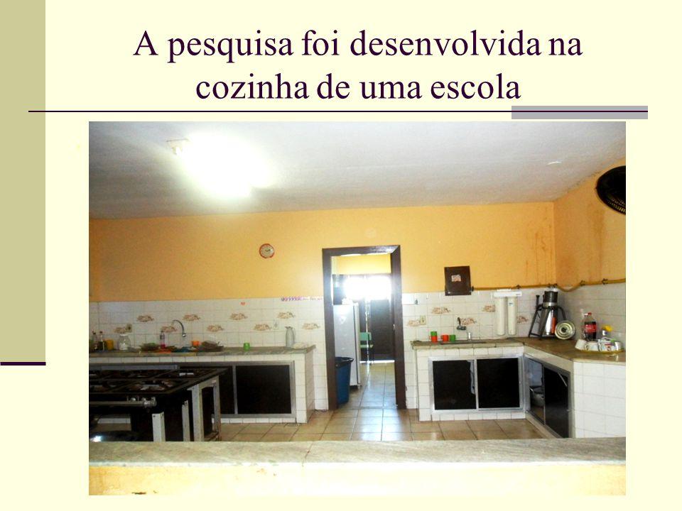 A pesquisa foi desenvolvida na cozinha de uma escola.