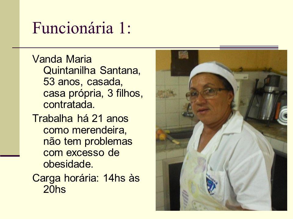 Funcionária 1: Vanda Maria Quintanilha Santana, 53 anos, casada, casa própria, 3 filhos, contratada. Trabalha há 21 anos como merendeira, não tem prob