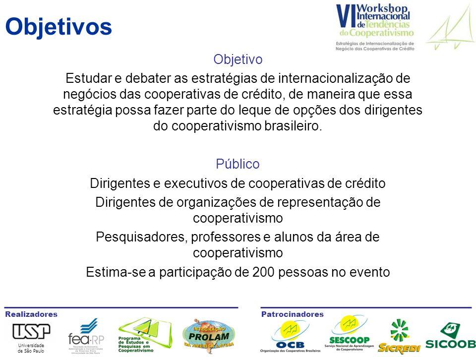 Universidade de São Paulo RealizadoresPatrocinadores Objetivos Objetivo Estudar e debater as estratégias de internacionalização de negócios das cooperativas de crédito, de maneira que essa estratégia possa fazer parte do leque de opções dos dirigentes do cooperativismo brasileiro.