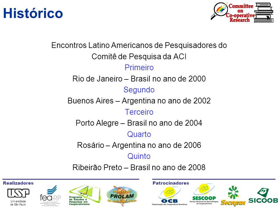 Universidade de São Paulo RealizadoresPatrocinadores Histórico Encontros Latino Americanos de Pesquisadores do Comitê de Pesquisa da ACI Primeiro Rio de Janeiro – Brasil no ano de 2000 Segundo Buenos Aires – Argentina no ano de 2002 Terceiro Porto Alegre – Brasil no ano de 2004 Quarto Rosário – Argentina no ano de 2006 Quinto Ribeirão Preto – Brasil no ano de 2008