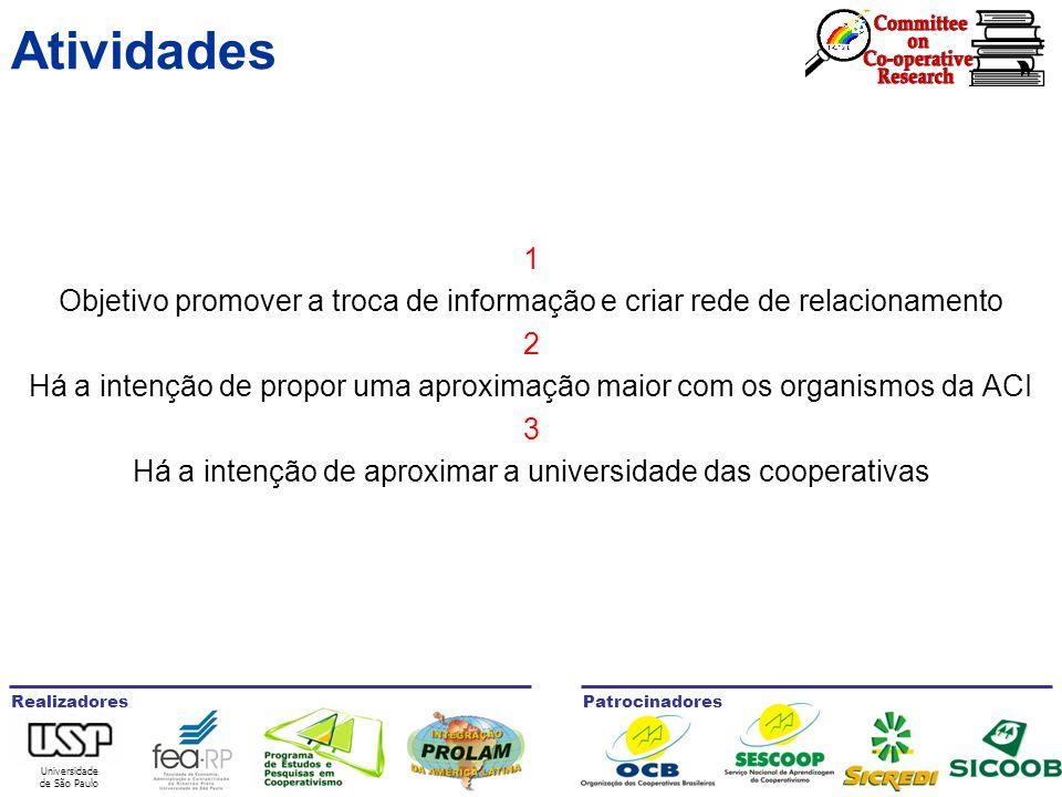 Universidade de São Paulo RealizadoresPatrocinadores Atividades 1 Objetivo promover a troca de informação e criar rede de relacionamento 2 Há a intenção de propor uma aproximação maior com os organismos da ACI 3 Há a intenção de aproximar a universidade das cooperativas
