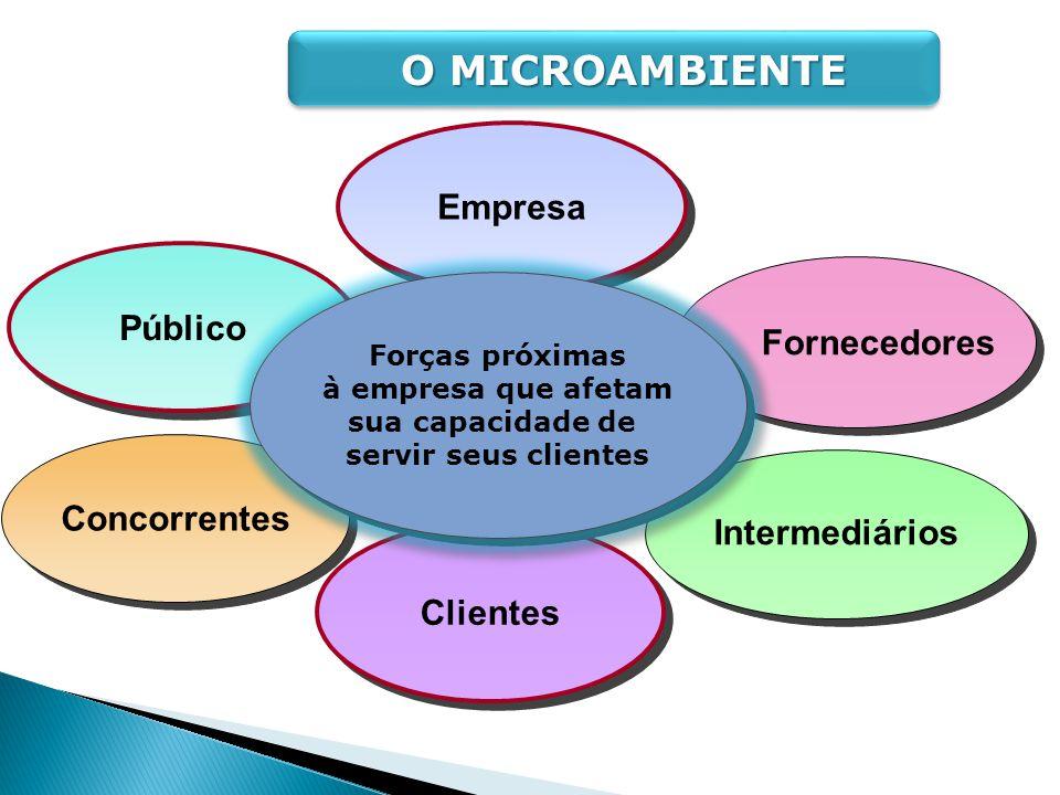 Empresa Clientes Público Fornecedores Concorrentes Intermediários Forças próximas à empresa que afetam sua capacidade de servir seus clientes Forças p