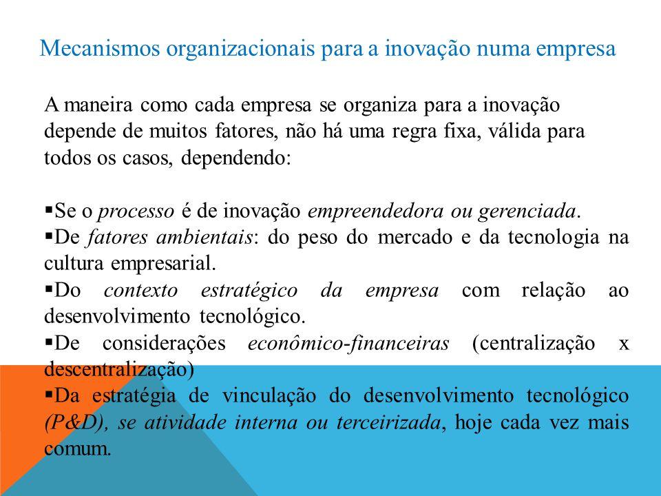 Mecanismos organizacionais para a inovação numa empresa A maneira como cada empresa se organiza para a inovação depende de muitos fatores, não há uma regra fixa, válida para todos os casos, dependendo:  Se o processo é de inovação empreendedora ou gerenciada.