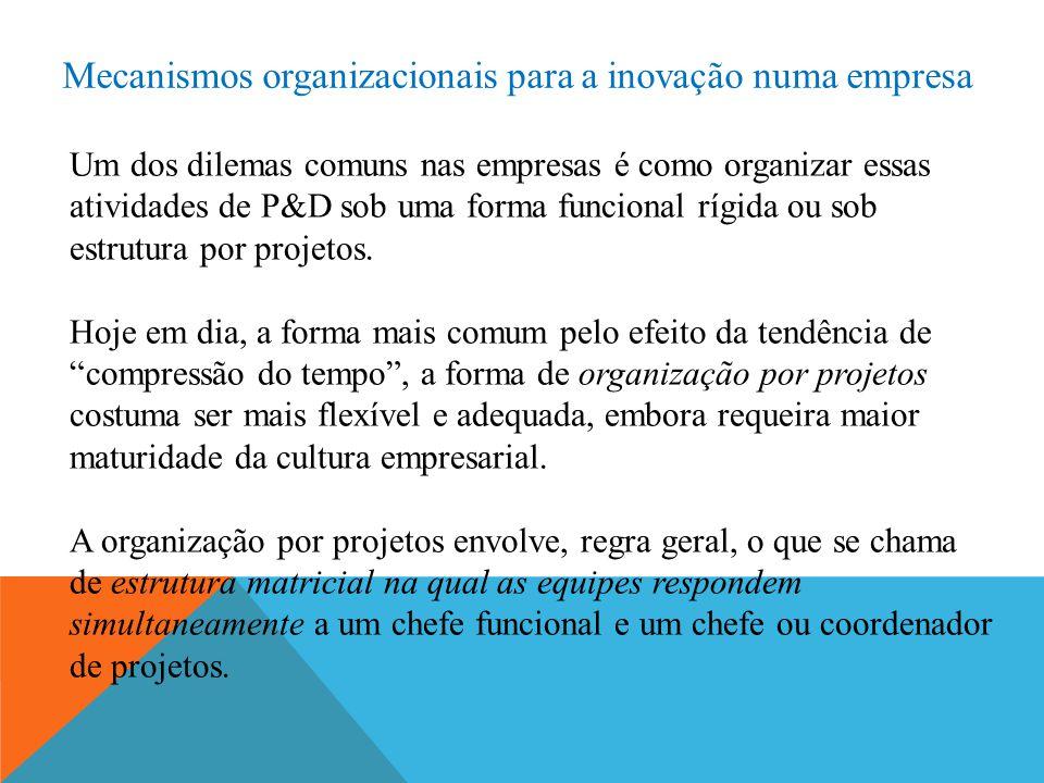 Mecanismos organizacionais para a inovação numa empresa Um dos dilemas comuns nas empresas é como organizar essas atividades de P&D sob uma forma funcional rígida ou sob estrutura por projetos.