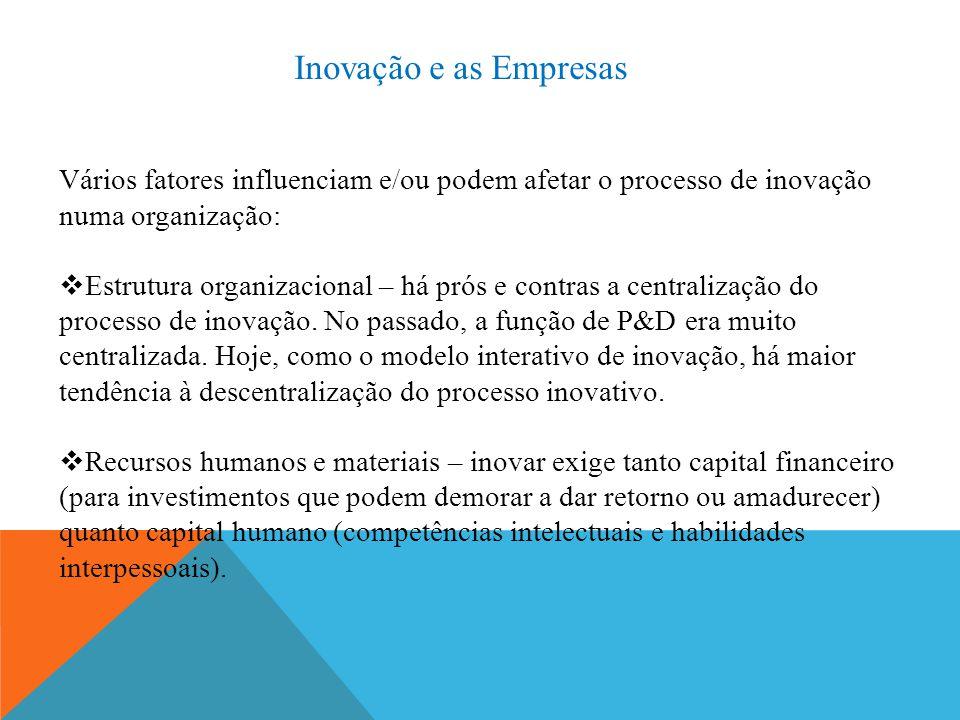 Inovação e as Empresas Vários fatores influenciam e/ou podem afetar o processo de inovação numa organização:  Estrutura organizacional – há prós e contras a centralização do processo de inovação.