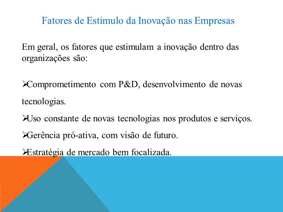 Fatores de Estimulo da Inovação nas Empresas Em geral, os fatores que estimulam a inovação dentro das organizações são:  Comprometimento com P&D, des