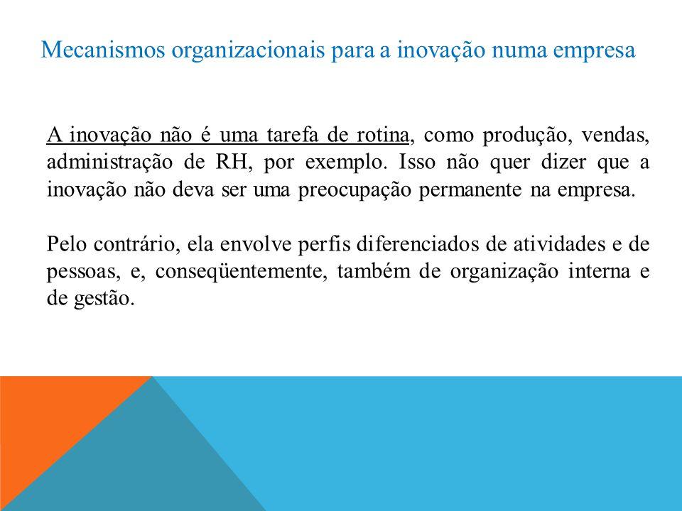 Mecanismos organizacionais para a inovação numa empresa A inovação não é uma tarefa de rotina, como produção, vendas, administração de RH, por exemplo.