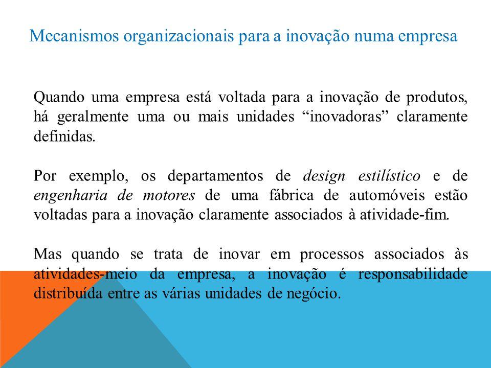 Mecanismos organizacionais para a inovação numa empresa Quando uma empresa está voltada para a inovação de produtos, há geralmente uma ou mais unidade