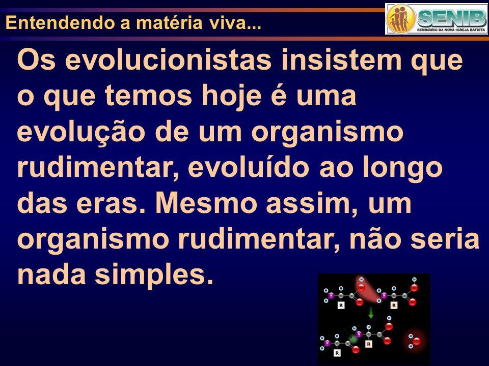 Entendendo a matéria viva... Os evolucionistas insistem que o que temos hoje é uma evolução de um organismo rudimentar, evoluído ao longo das eras. Me