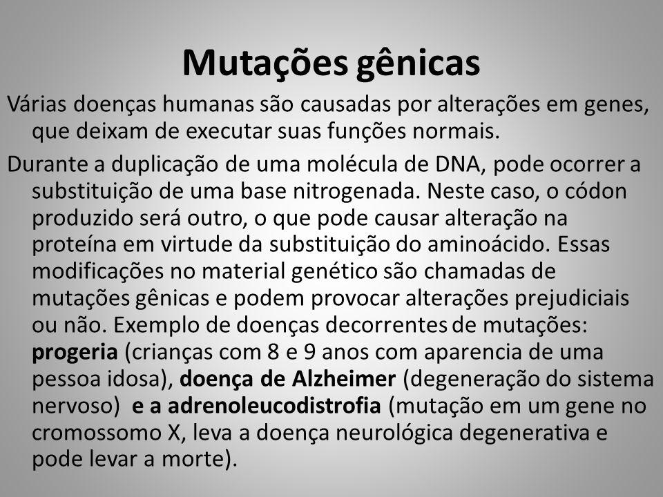 Mutações gênicas Várias doenças humanas são causadas por alterações em genes, que deixam de executar suas funções normais. Durante a duplicação de uma
