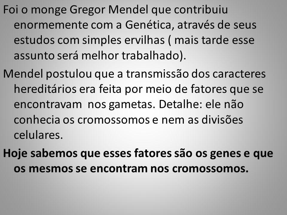 Foi o monge Gregor Mendel que contribuiu enormemente com a Genética, através de seus estudos com simples ervilhas ( mais tarde esse assunto será melho