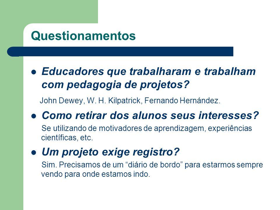 Questionamentos Educadores que trabalharam e trabalham com pedagogia de projetos? John Dewey, W. H. Kilpatrick, Fernando Hernández. Como retirar dos a