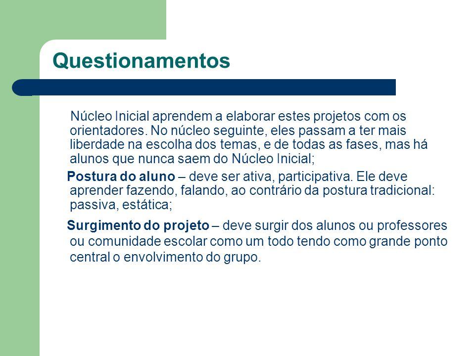 Questionamentos Núcleo Inicial aprendem a elaborar estes projetos com os orientadores. No núcleo seguinte, eles passam a ter mais liberdade na escolha