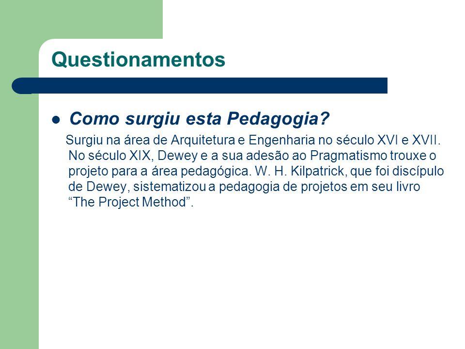 Questionamentos Como surgiu esta Pedagogia? Surgiu na área de Arquitetura e Engenharia no século XVI e XVII. No século XIX, Dewey e a sua adesão ao Pr