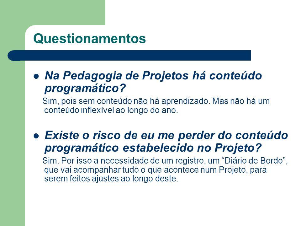 Questionamentos Na Pedagogia de Projetos há conteúdo programático? Sim, pois sem conteúdo não há aprendizado. Mas não há um conteúdo inflexível ao lon