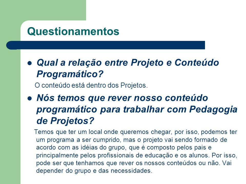 Questionamentos Qual a relação entre Projeto e Conteúdo Programático? O conteúdo está dentro dos Projetos. Nós temos que rever nosso conteúdo programá