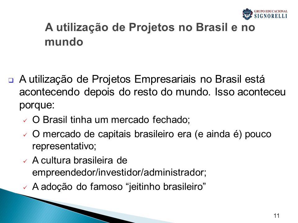 11 A utilização de Projetos no Brasil e no mundo  A utilização de Projetos Empresariais no Brasil está acontecendo depois do resto do mundo.