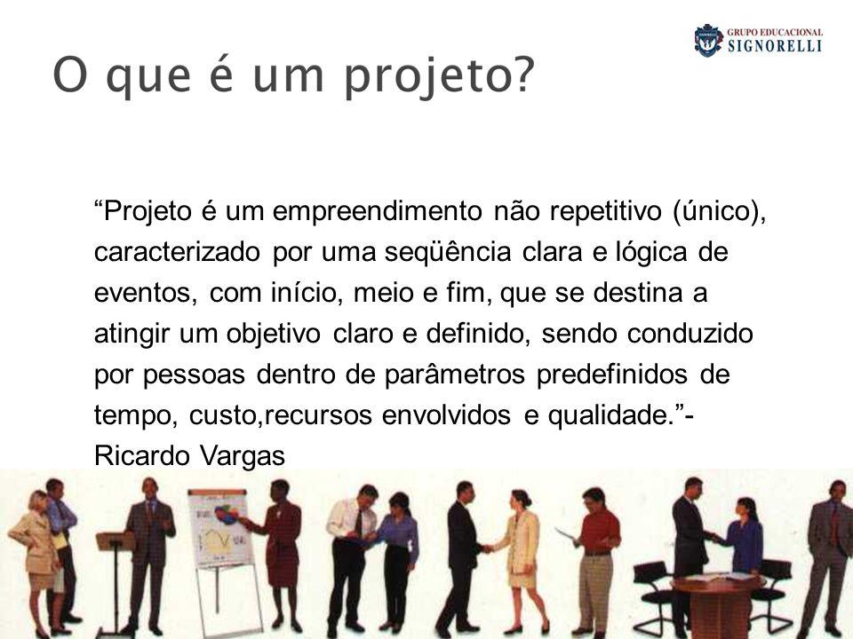 Projeto é um empreendimento não repetitivo (único), caracterizado por uma seqüência clara e lógica de eventos, com início, meio e fim, que se destina a atingir um objetivo claro e definido, sendo conduzido por pessoas dentro de parâmetros predefinidos de tempo, custo,recursos envolvidos e qualidade. - Ricardo Vargas