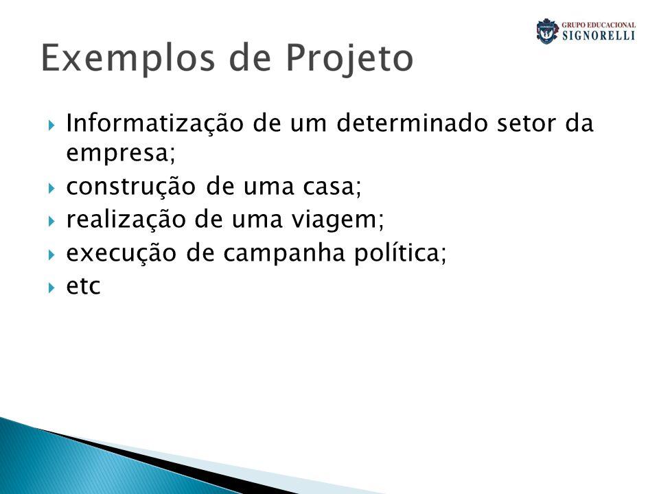  Informatização de um determinado setor da empresa;  construção de uma casa;  realização de uma viagem;  execução de campanha política;  etc