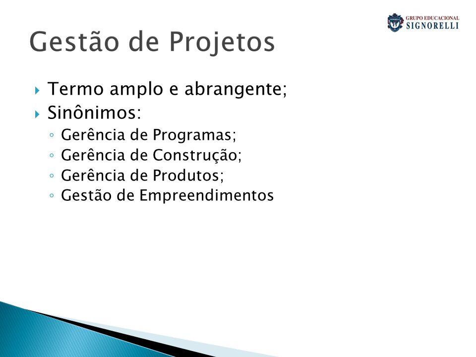  Termo amplo e abrangente;  Sinônimos: ◦ Gerência de Programas; ◦ Gerência de Construção; ◦ Gerência de Produtos; ◦ Gestão de Empreendimentos