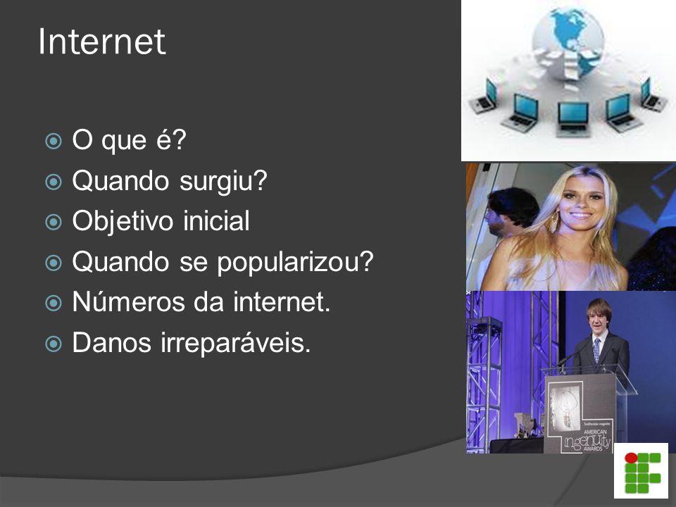 Internet  O que é?  Quando surgiu?  Objetivo inicial  Quando se popularizou?  Números da internet.  Danos irreparáveis.