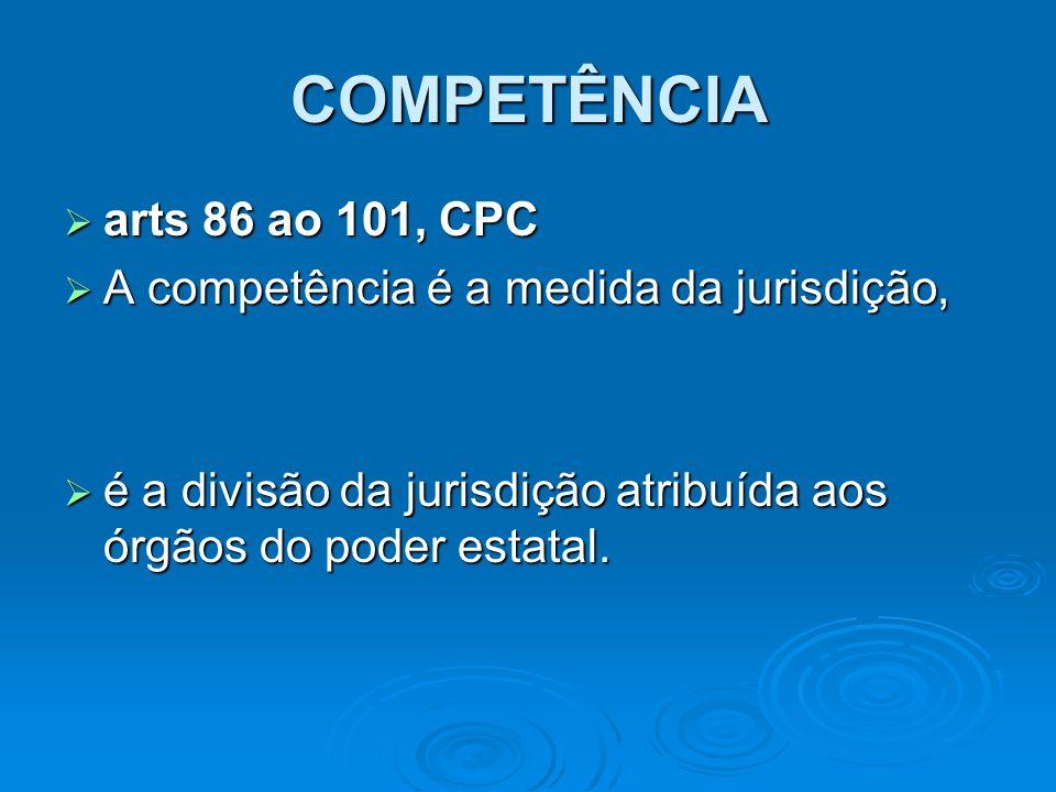 COMPETÊNCIA  arts 86 ao 101, CPC  A competência é a medida da jurisdição,  é a divisão da jurisdição atribuída aos órgãos do poder estatal.