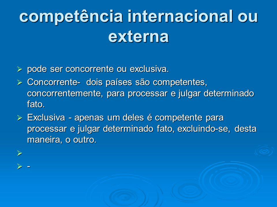 competência internacional ou externa  pode ser concorrente ou exclusiva.  Concorrente- dois países são competentes, concorrentemente, para processar