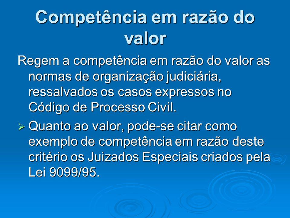 Competência em razão do valor Regem a competência em razão do valor as normas de organização judiciária, ressalvados os casos expressos no Código de P