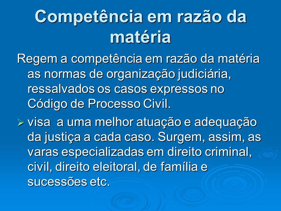Competência em razão da matéria Regem a competência em razão da matéria as normas de organização judiciária, ressalvados os casos expressos no Código