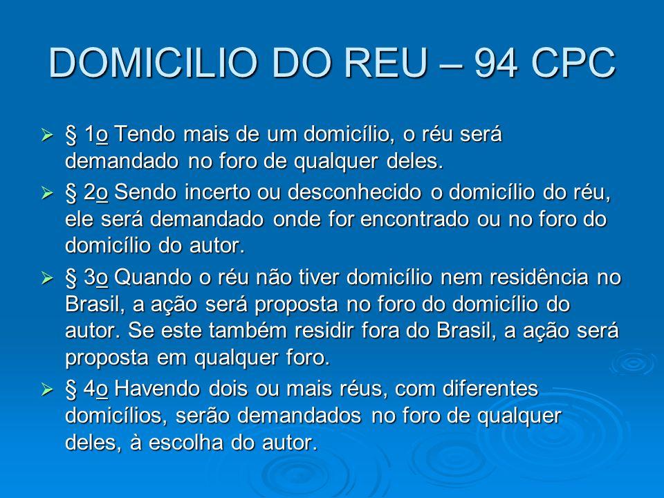 DOMICILIO DO REU – 94 CPC  § 1o Tendo mais de um domicílio, o réu será demandado no foro de qualquer deles.  § 2o Sendo incerto ou desconhecido o do