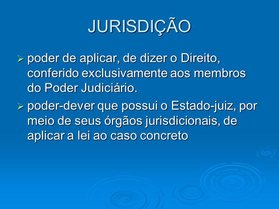 JURISDIÇÃO  poder de aplicar, de dizer o Direito, conferido exclusivamente aos membros do Poder Judiciário.  poder-dever que possui o Estado-juiz, p