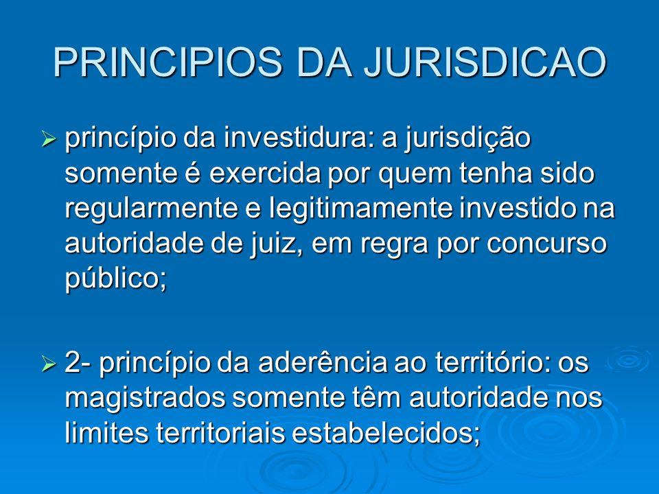 PRINCIPIOS DA JURISDICAO  princípio da investidura: a jurisdição somente é exercida por quem tenha sido regularmente e legitimamente investido na aut