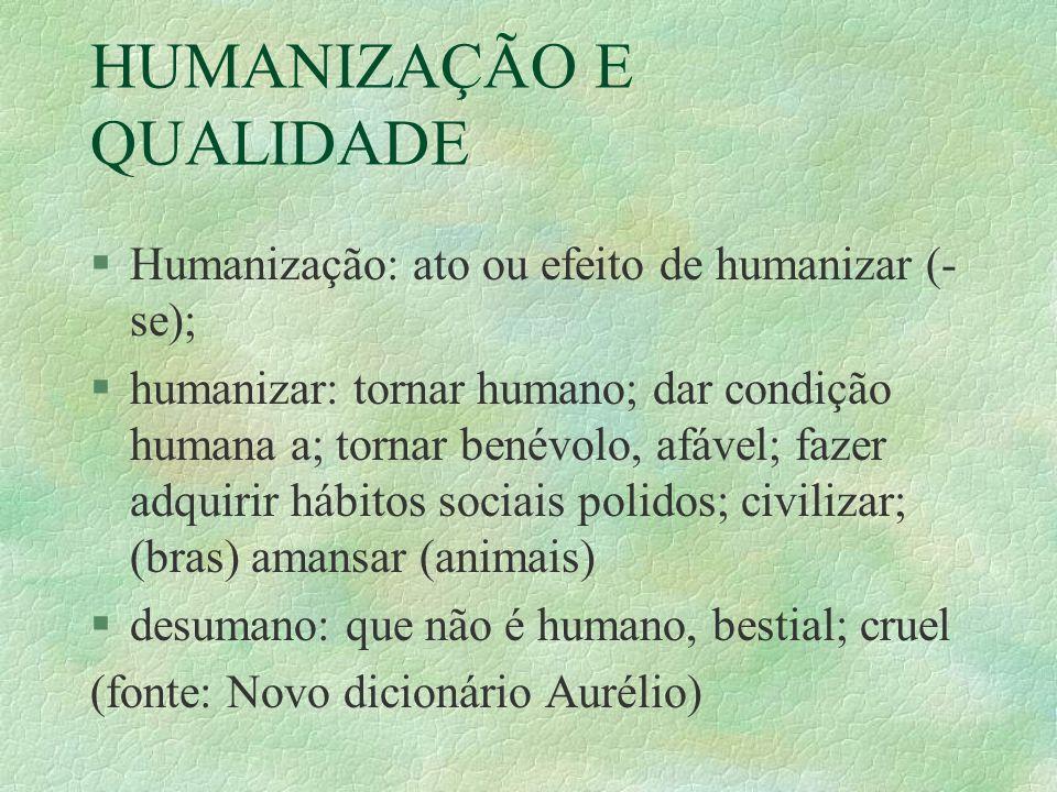 HUMANIZAÇÃO E QUALIDADE §Quem não é humano.§Quem não é afável.
