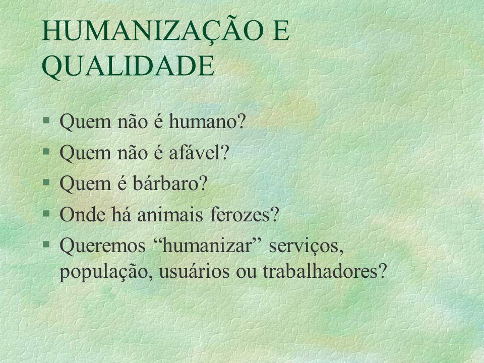 HUMANIZAÇÃO E QUALIDADE §Quem não é humano. §Quem não é afável.