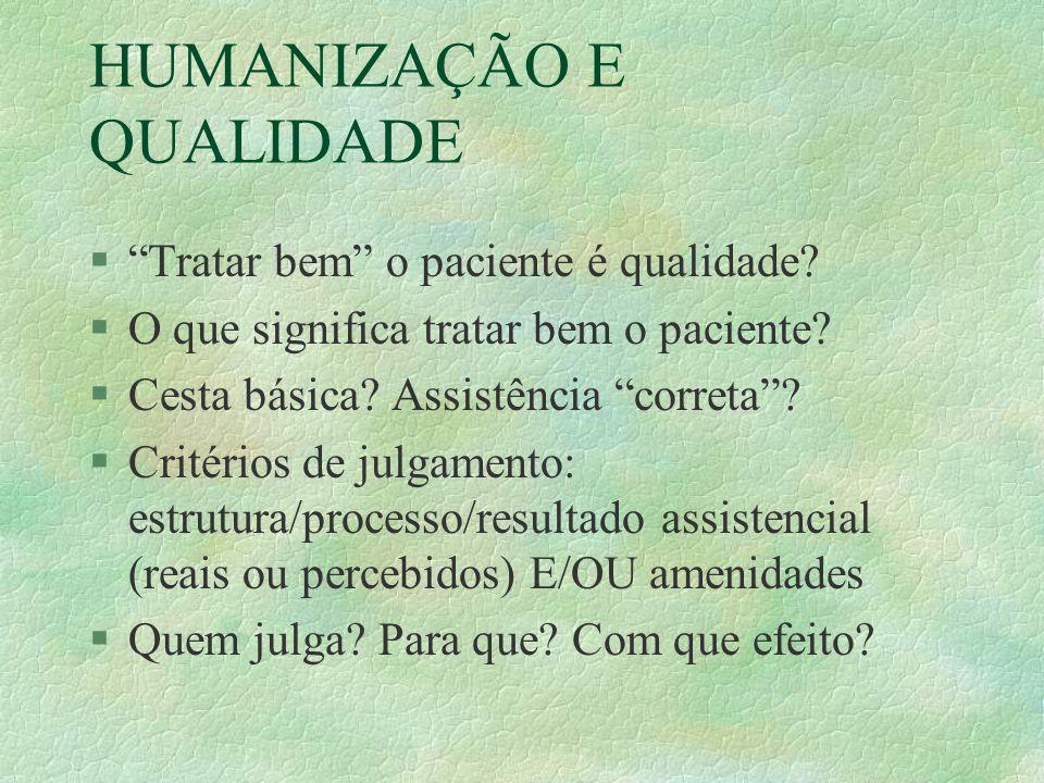 HUMANIZAÇÃO E QUALIDADE § Tratar bem o paciente é qualidade.