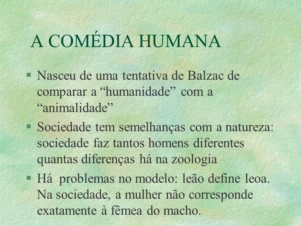 A COMÉDIA HUMANA §Nasceu de uma tentativa de Balzac de comparar a humanidade com a animalidade §Sociedade tem semelhanças com a natureza: sociedade faz tantos homens diferentes quantas diferenças há na zoologia §Há problemas no modelo: leão define leoa.