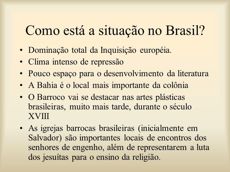 Como está a situação no Brasil? Dominação total da Inquisição européia. Clima intenso de repressão Pouco espaço para o desenvolvimento da literatura A