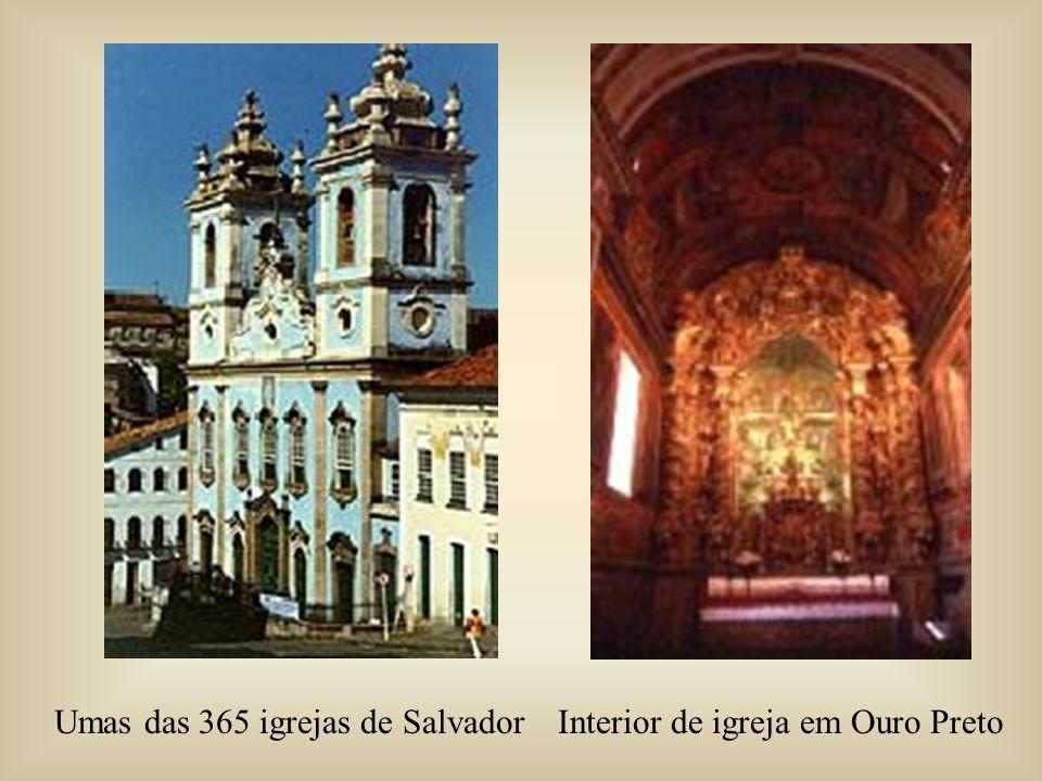 Umas das 365 igrejas de SalvadorInterior de igreja em Ouro Preto