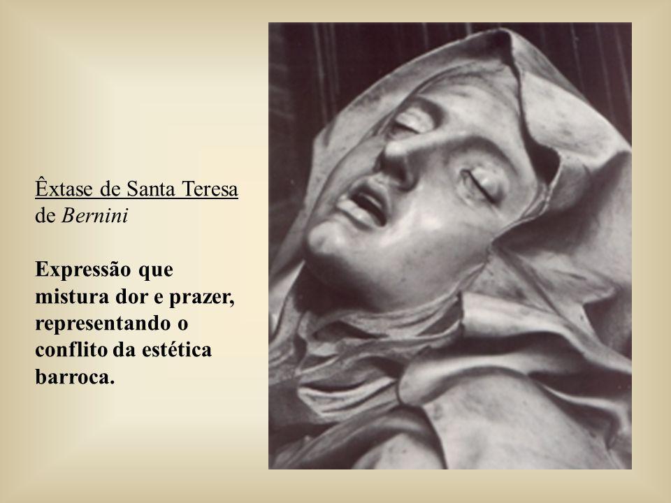 Êxtase de Santa Teresa de Bernini Expressão que mistura dor e prazer, representando o conflito da estética barroca.