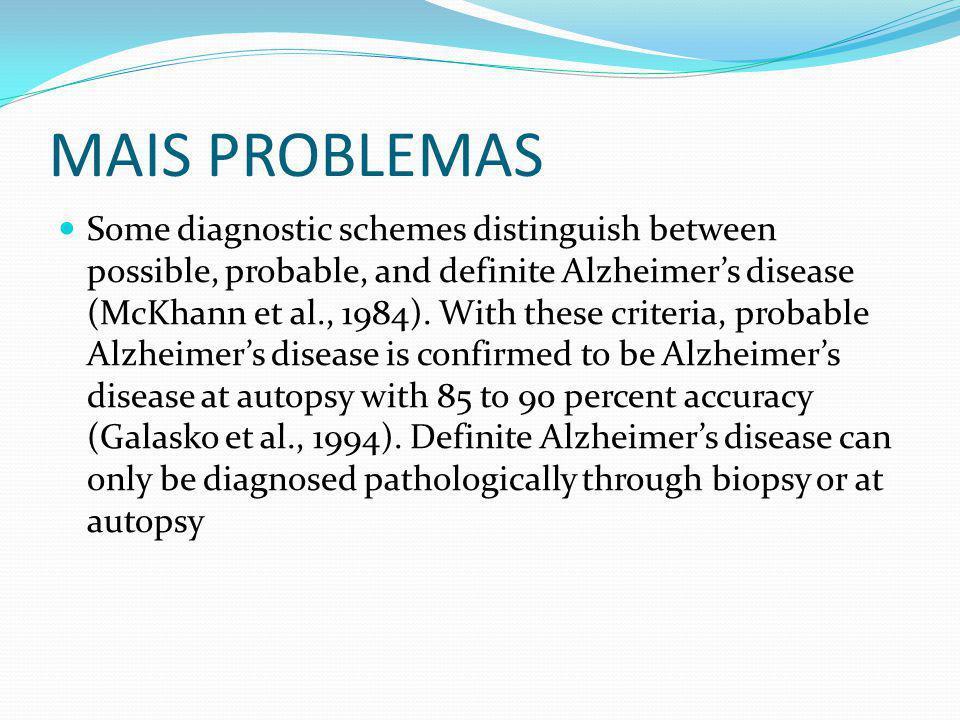 MAIS PROBLEMAS Some diagnostic schemes distinguish between possible, probable, and definite Alzheimer's disease (McKhann et al., 1984). With these cri