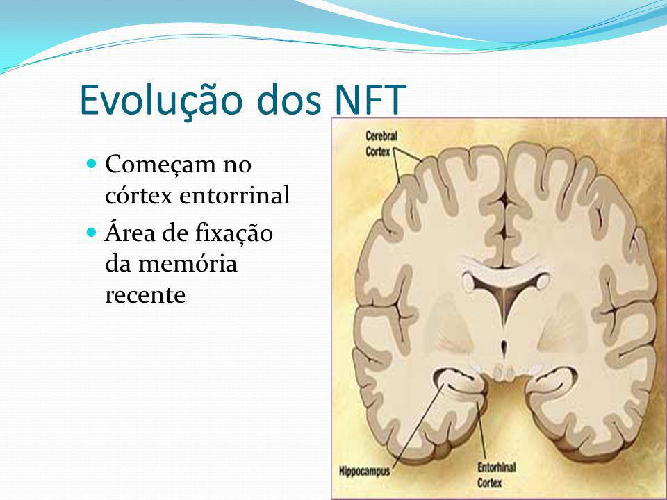 Evolução dos NFT Começam no córtex entorrinal Área de fixação da memória recente