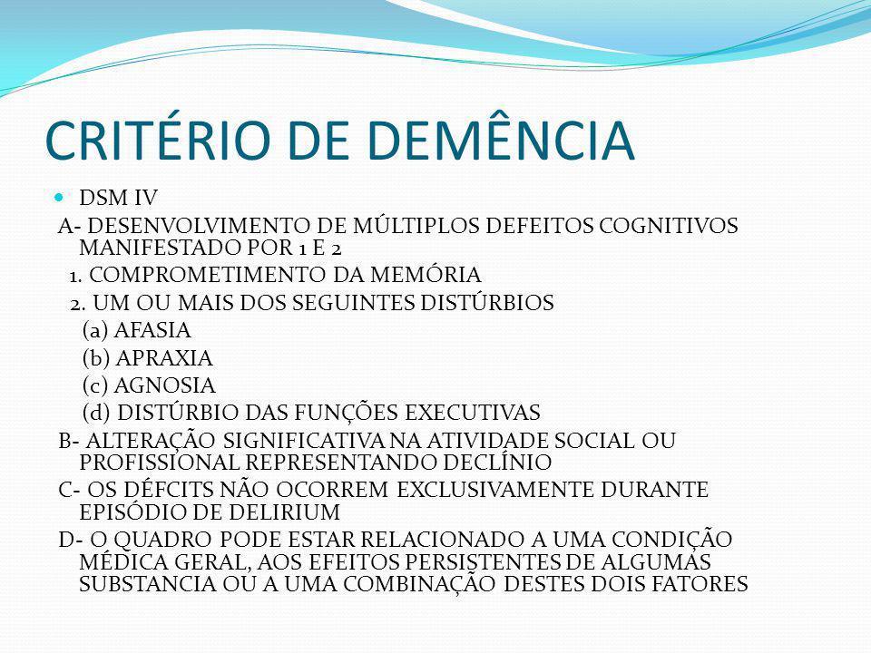 CRITÉRIO DE DEMÊNCIA DSM IV A- DESENVOLVIMENTO DE MÚLTIPLOS DEFEITOS COGNITIVOS MANIFESTADO POR 1 E 2 1. COMPROMETIMENTO DA MEMÓRIA 2. UM OU MAIS DOS