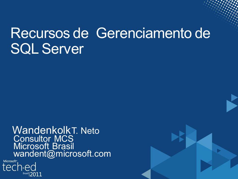 Objetivos Como tornar a sua vida mais fácil com relação ao gerenciamento de SQL Server 2008 R2 e Denali para situações de alto volume e otimizações Quais os próximos passos...