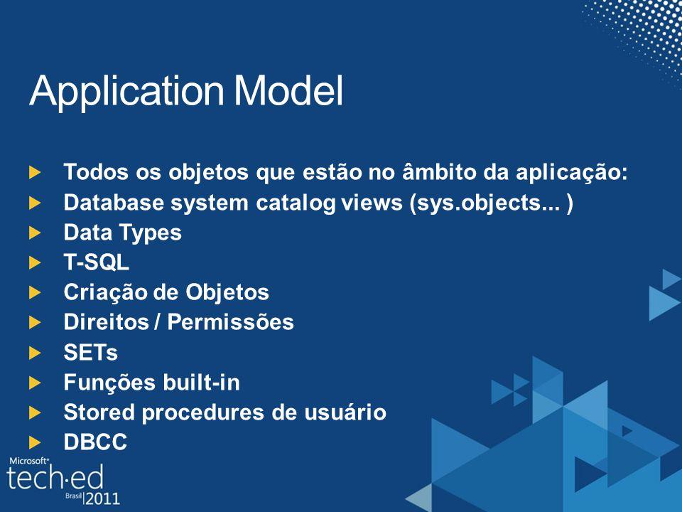 Application Model Todos os objetos que estão no âmbito da aplicação: Database system catalog views (sys.objects...
