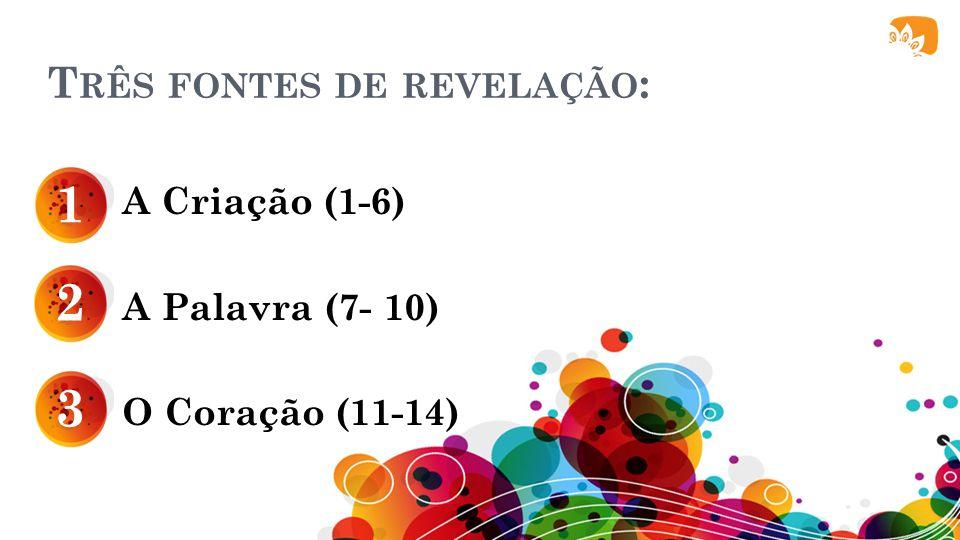 T RÊS FONTES DE REVELAÇÃO : A Criação (1-6) A Palavra (7- 10) O Coração (11-14) 1 2 3